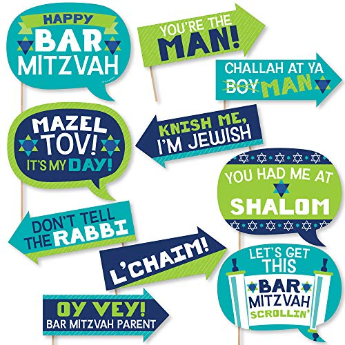 Big Dot of Happiness Funny Blue Bar Mitzvah – Boy Party Photo Booth Props Kit – 10 Piece