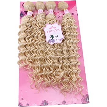 """FRELYN Deep Wave Hair Bundles Blonde Curly Synthetic Hair Weave Extensions Color 613# 4 Pieces/pack (16"""" 18"""" 18"""" 20"""") Texture Soft As Human Hair"""