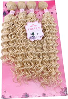 FRELYN Deep Wave Hair Bundles Blonde Curly Synthetic Hair Weave Extensions Color 613# 4 Pieces/pack (16
