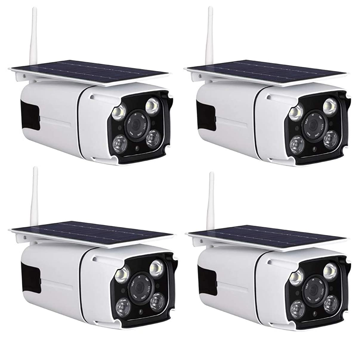 OMZBM Upgrade Multifunction Wireless WiFi IP Solar Power Camera 1080P HD Waterproof with Induction LED Light,Two-Way Voice Intercom,IR Night Vision,PIR Motion Detection,with 64G Memory Card,Four