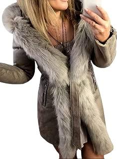 Women's Thicken Faux Fur Hooded Long Sleeve Belt Coat Jacket Parka Outerwear Outwear Tops