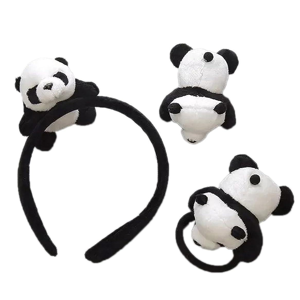 食物定期的お嬢skyflyings 髪飾り ヘアピン ヘアアクセサリー 可愛いパンダ 3個セット 子供用 大人用