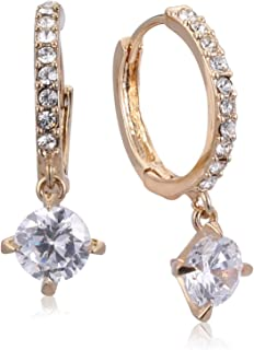 Trendy Fashion Crystal platinum plated 18K Austrian rhinestone Circle Earrings - Gold