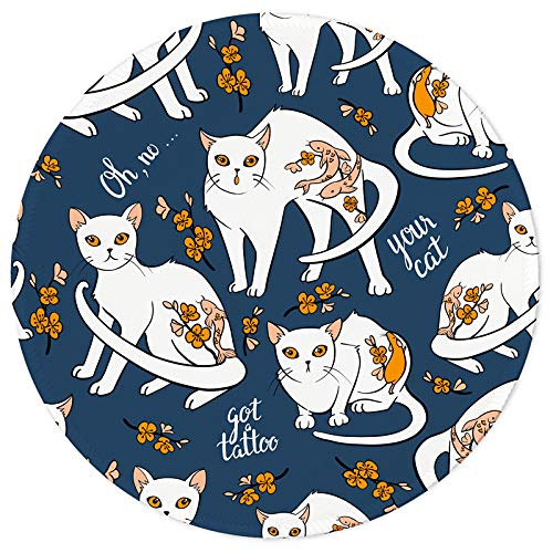 Round Mouse Pad Non-Slip Rubber Base Mouse Pads with Stitched Edge Lycra Cloth Mouse Mat for Computer Desktops, PC, Laptop Office and Home Gaming Mouse Pad-7.9 x 7.9inch (Cute Cats)