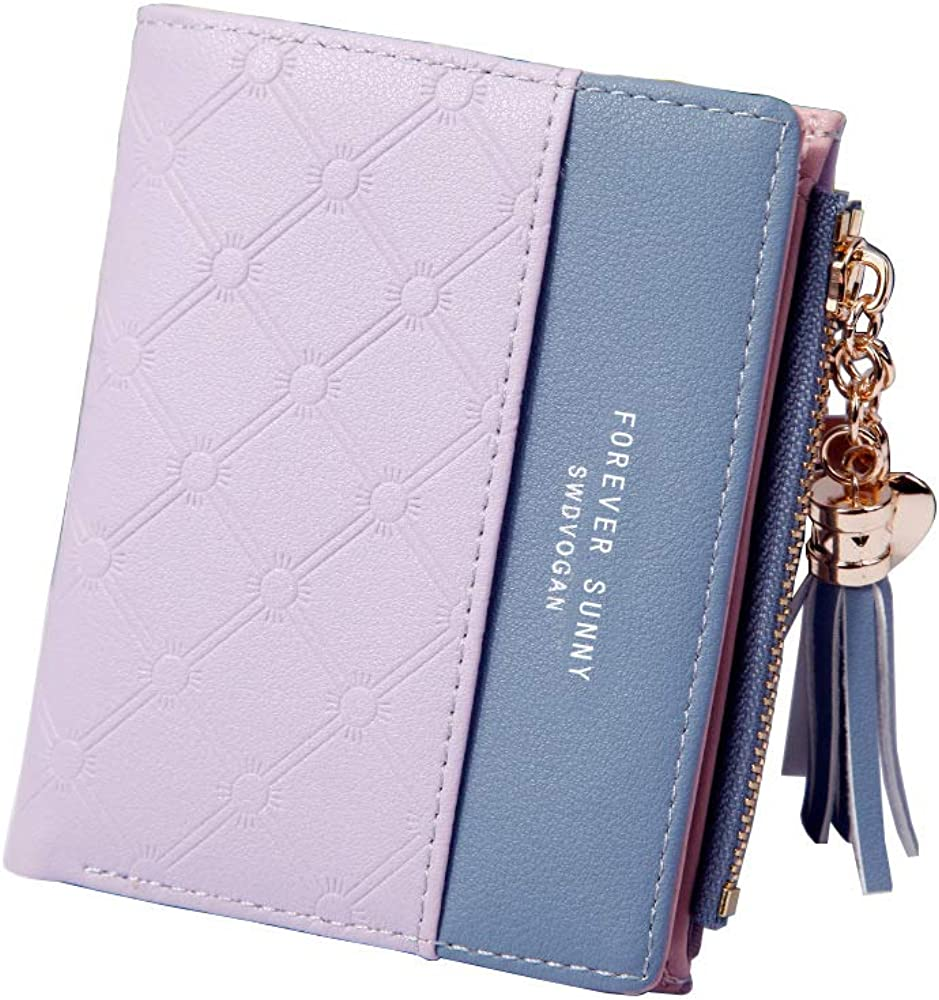 Limited time sale Behaniu Womens Slim Bifold Leather Minimalist Wallet Credit security Card