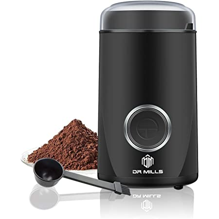 DR MILLS DM-7441 Electric Dried Spice and Coffee Grinder, Blade & cup made with SUS304 stianlees steel (black)