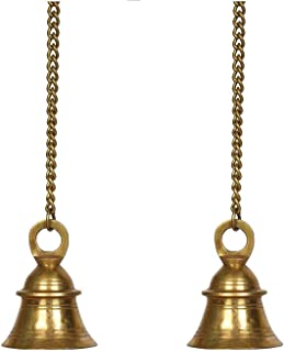 Indian Handicrafts Export Pair of Brass Hanging Pooja Bell with Chain | Mandir Decor