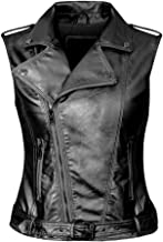 Daxvens Womens Motorcycle Biker Faux Leather Vest Slant Zip with Pockets