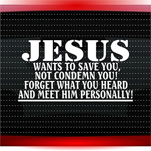 Noizy Graphics Jesus Wants to Save You Not Condemn You! Christian Car Sticker Truck Window Vinyl Decal Color: White