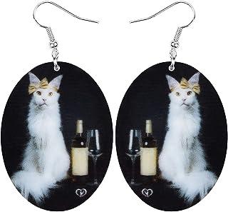NEWEI Acrylic Elegant Cat Red Wine Bottle Earrings Charm Dangle Drop Drink Jewelry For Women Girls Teen Fashion Gift Decor...