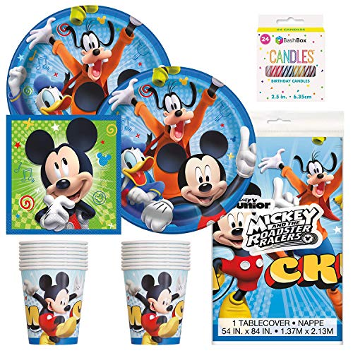 BashBox Disney Mickey Mouse Birthday Party Supplies Pack Including Plates, Cups, Napkins, Tablecover (16 Guests) Plus BONUS Candles