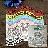 Troqueles de corte en relieve, borde ondulado de metal, para manualidades, álbumes de recortes, tarjetas de papel, plantilla, color plateado
