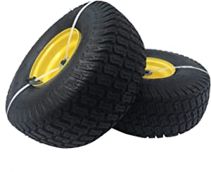 DOUBLE BRIDGE 2 Pack 15x6.00-6 Tires with Wheel for Lawn Mower Riding Mower. Multi-Trace Tread,3