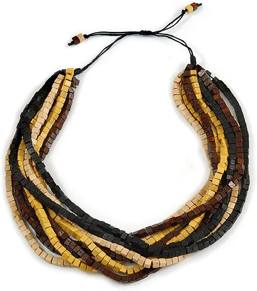 Avalaya Multi-Strand Black/Yellow/Natural/Brown Wood Bead Adjustable Cord Necklace - 66cm L