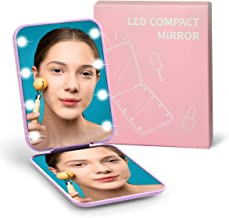 LED Compact Mirror, WOBANE Lighted Travel Makeup Mirror, 3X Magnifying Mirror with Light, Automatic Light Switch, Mini LED...