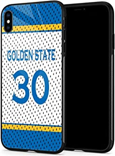 iPhone Xs Cases, Tempered Glass iPhone X Case Curry Jersey Pattern Design Black Cover Basketball Sport Case for iPhone X/XS 5.8 - Golden State #30