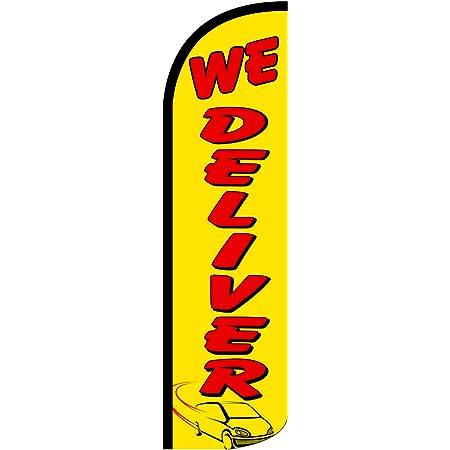 Remodel Safety Orange Stake Windless Feather Swooper Flag Banner Kit: 14 Pole Set Kitchen Bathroom