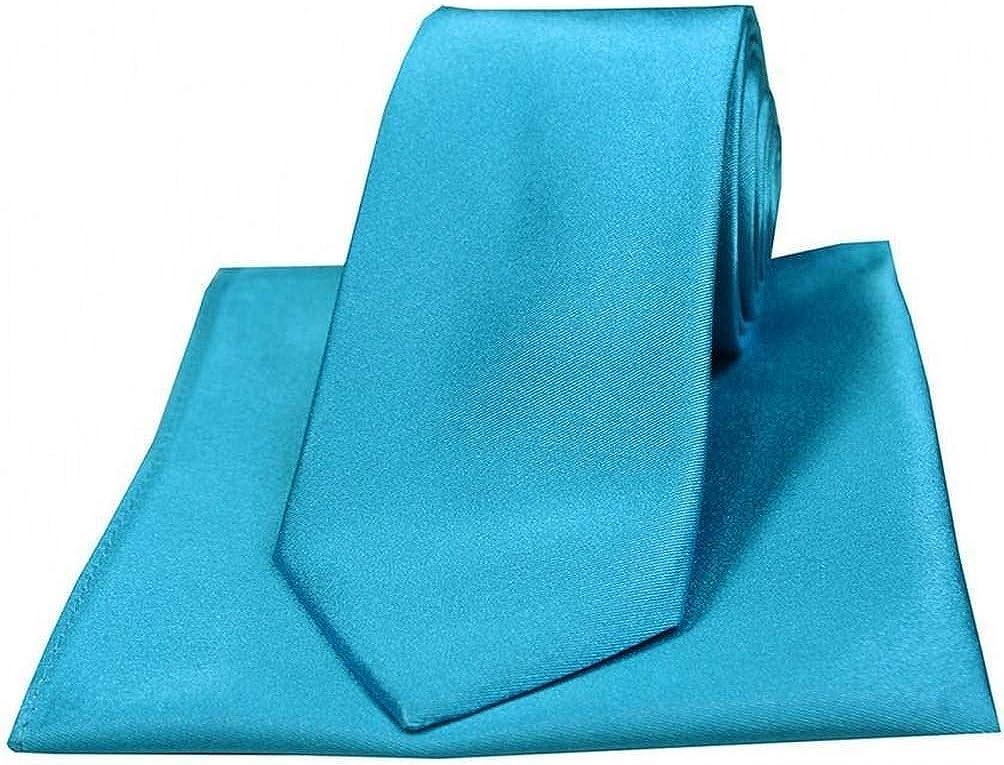 David Van Hagen Mens Satin Silk Tie and Pocket Square Set - Turquoise