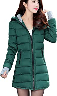 Wokasun.JJ Women Long Sleeve Outerwear With Gloves Cotton-Padded Jackets Pocket Hooded Coat