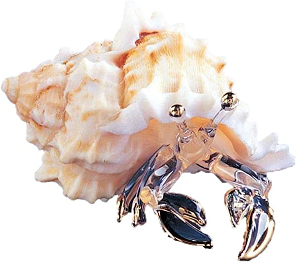 Roy Rose Jewelry Handcrafted Glass Hermit Crab In Seashell Figurine By Glass Baron From