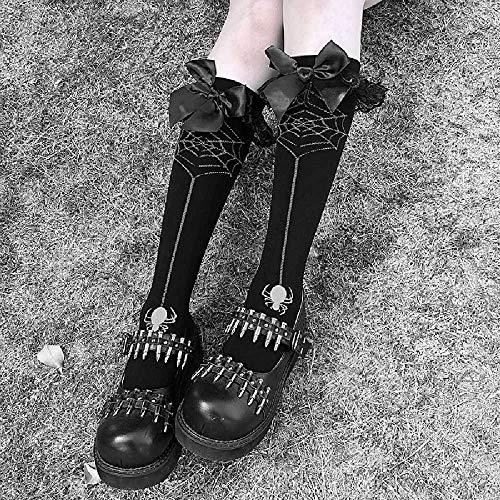 ZHANGNUO Calcetines Estilo Punk Oscuro Lolita Calcetines Femeninos De Tubo Suave Hermana Verano Telaraña Impresa Anime Cosplay Calcetines con Lazo De Halloween OneSize/Negro