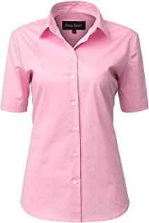3bbd588e INFLATION Women Dress Shirt Short Sleeves Blouse Button Down Shirt Stretch  11 Colors