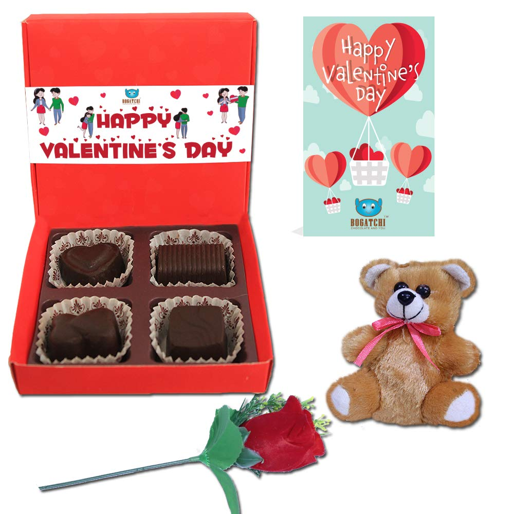 Bogatchi Chocolates Valentine Day Gift For Boyfriend 4 Choco Red Box Free V Day Card Free Fur Heart Amazon In Grocery Gourmet Foods