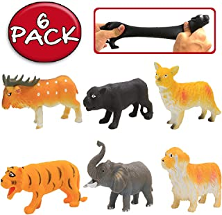ValeforToy Animal Toy,8 Inch Rubber Animal Sets(6 Pack),Food Grade Material TPR Super Stretchy with Gift Bag, Jungle Farm ...