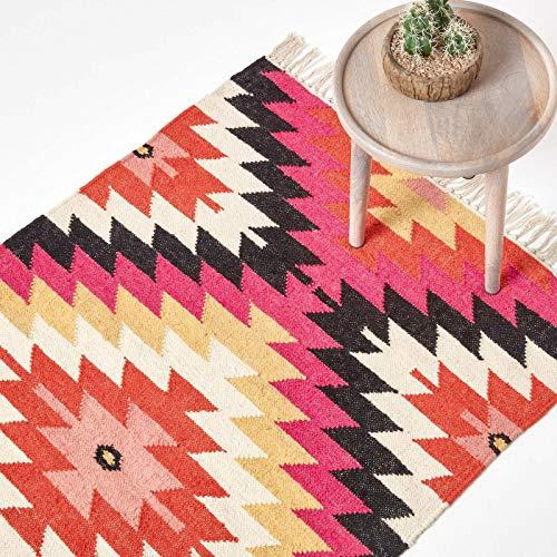 Homescapes Kelim-Teppich Jakarta, handgewebt aus Wolle/Baumwolle, 120 x 170 cm, bunter Wollteppich/Baumwollteppich mit geometrischem Muster und Fransen