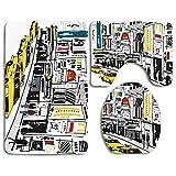 Set de alfombras de baño de seguridad Modern Times Square New York con gente en la calle Taxis de tráfico Tráfico Ilustración de moda Alfombra de baño + Alfombrilla de contorno + Funda de asiento de i