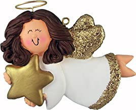 Personalized Angel with Star Christmas Tree Ornament 2019 - Brunette Female Religious Prayer Heaven Woman Gold Dress Wings Girl Halo Memorial Remembrance Choir - Free Customization (Brown Hair)