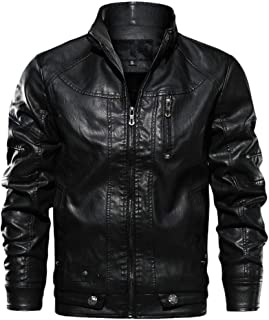 for Men Coat.AIMTOPPY Men's Casual Solid Color Stand Collar Long Sleeve Leather Jacket