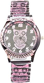 Souarts Womens Printing Colorful Elastic Band Watches Owl Sport Wristwatches 20cm