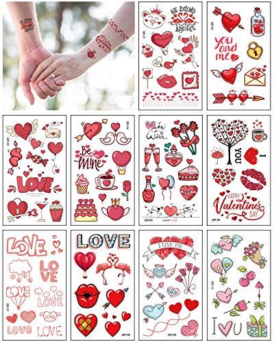 Aoligei 20 Fogli Tatuaggi Temporanei, Tema San Valentino Tatuaggi per Bambini Delicato Sulla Pelle,Impermeabile Tatuaggi Finti Per Ragazze Ragazzi,Tatuaggio Temporaneo per San Valentino