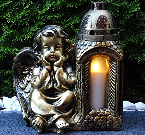 ♥ Grablaterne Grablampe Engel Massiv XL 30,0cm Bronze incl. Grabkerze Grabschmuck Grableuchte Grablicht Laterne Kerze Lampe Schutzengel