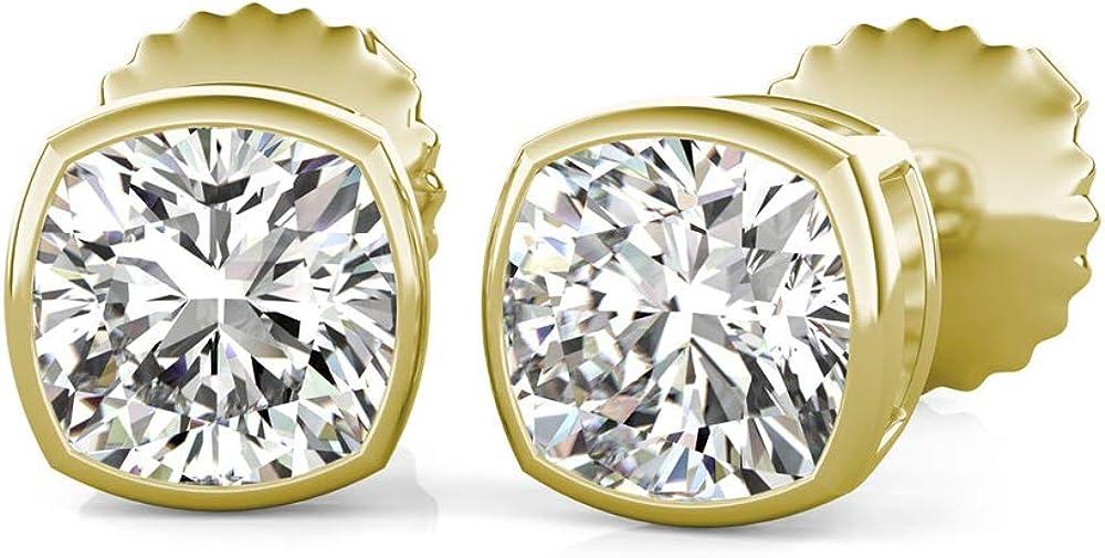 Store Ranking TOP20 Bezel Set Cushion Cut Diamond Fancy Ea Solitaire Stud Wear Party