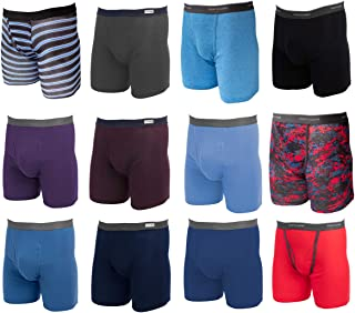 12 Pack Random, Mens Underwear, Underwear for Men, Cotton Underwear, Boxer Briefs with Fly, Tag Free