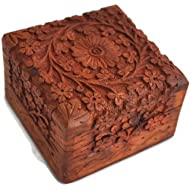 Artncraft Jewelry Box Novelty Item, Unique Artisan Traditional Hand Carved Rosewood Jewelry Box...