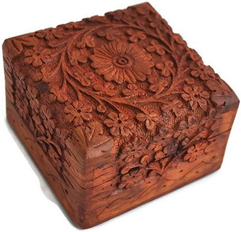 Artncraft Jewelry Box Novelty Item Unique Artisan Traditional Hand Carved Rosewood Jewelry Box From India Inside