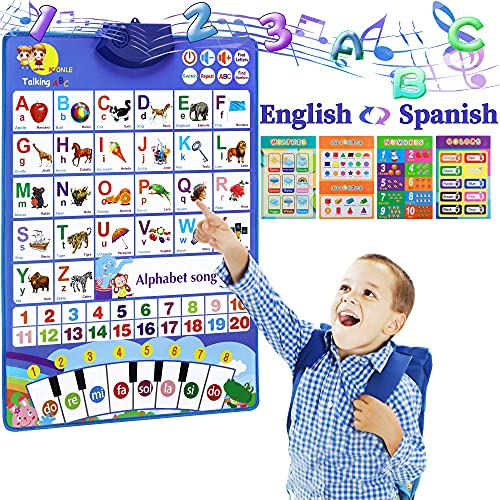 Hotice Bilingual Electronic Interactive Alphabet Wall Chart, ABC&123s&Music&Piano Keyboard&English & Spanish Talking Poster, Educational Learning Toys Gifts for Toddler Boy Girl at Preschool, Daycare