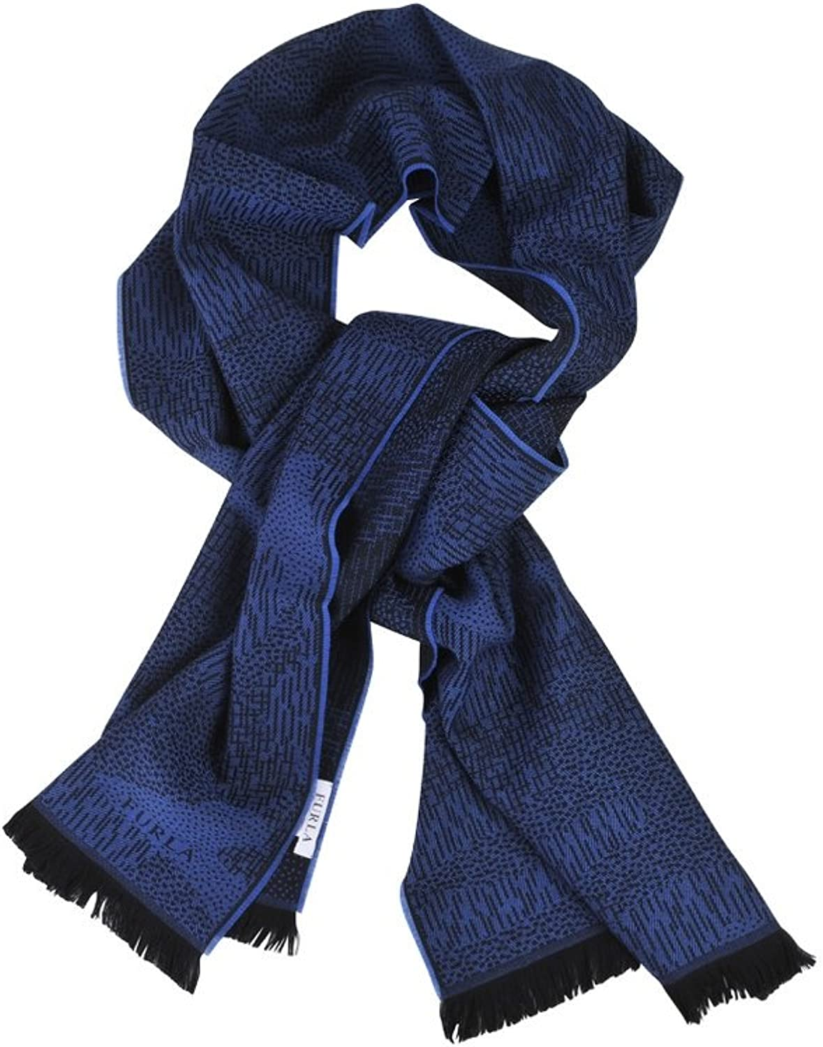 Furla Scarf Women's bluee Black Geometric pattern Wool 35 cm x 180 cm