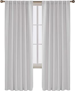 Deconovo Back Tab and Rod Pocket Curtains Blackout Curtains Thermal Insulated Room Darkening Curtains for Living Room 52x84 Inch Platinum 2 Panels