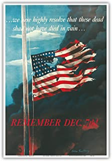 Pacifica Island Art Remember December 7th! - In Remembrance of the Japanese Attack on Pearl Harbor, Honolulu, Hawaii - Vintage War Poster by Allen Saalburg c.1942 - Master Art Print - 13 x 19in