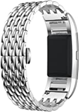 OWIKAR Luxury Steel Band for Fitbit Charge 2 Stainless Steel Metal Replacement Wristband Fitbit Charge 2 Fitness Bracelet Band Strap Adjustable for Men&Women (Silver)