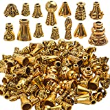 100 Gram (About 110-150pcs) Antique Gold Cone Bead Caps Flower End Caps Tassel End Cap for Jewelry Making Crafts DIY