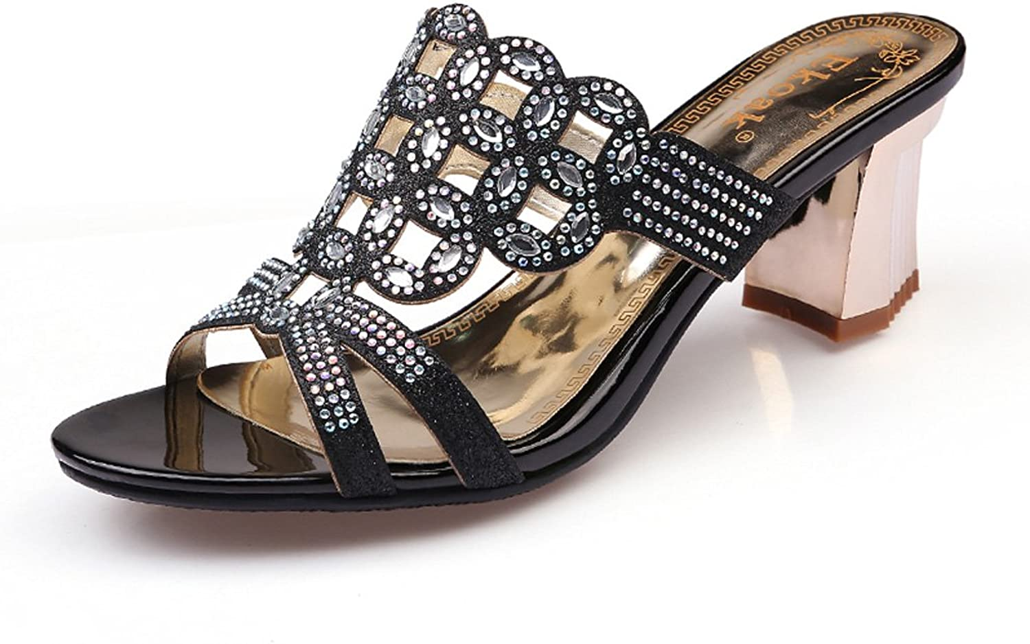 Genepeg Womens Sandals Rhinestone Cut-Outs High Heels Slippers Ladies Party Dress shoes Black