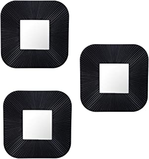 Art Street Set of 3 Decorative Square Black Wall Mirror for Living Room (10 x 10 Inchs)