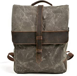 Waterproof Waxed Canvas Hiking Backpack Large-Capacity Casual Fashion Backpack (Color : Green, Size : 30 * 10.5 * 40)