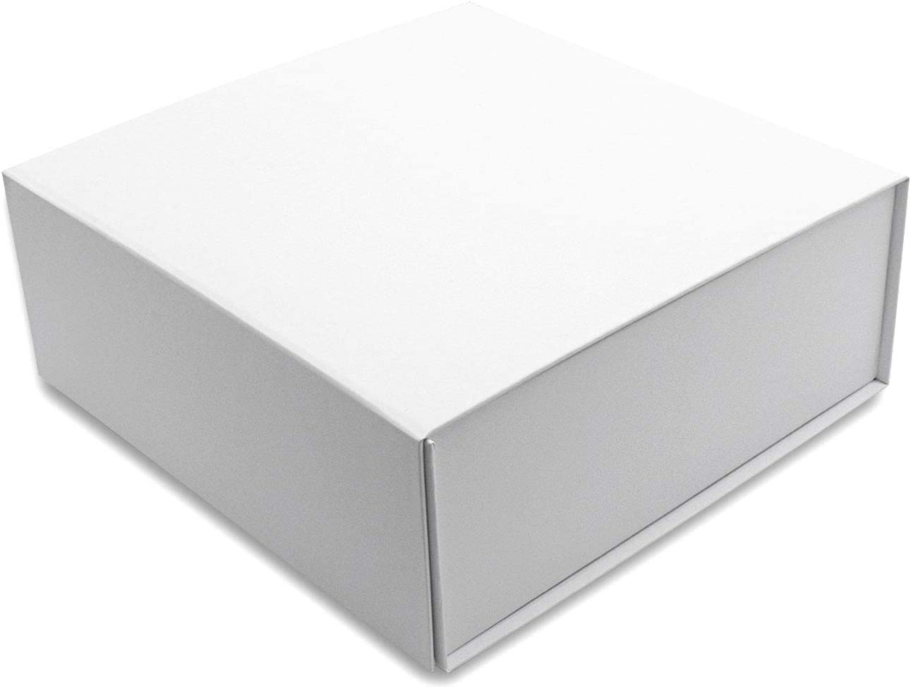 White Gift Box with Lid, Collapsible with Magnetic Flap Closure, Hard Paperboard with Matte Finish, Designer Quality for Gifts, Presentations, Bridesmaids, Groomsmen, Retail, Apparel - 9.4x9.4x3.7