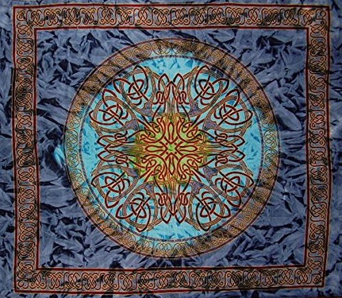 India Arts Celtic Circle Tie Dye Tapestry Cotton Bedspread 108' x 88' Full-Queen Blue